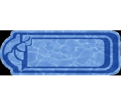 Композитный бассейн Кассандра 10,5*3,44*1,53 м., Голубая Лагуна (Россия/США), цвет голубой