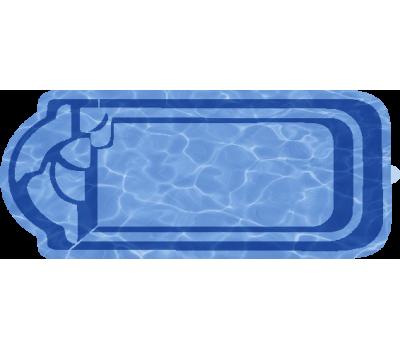 Композитный бассейн Ребекка 7,70*3,15*1,52 м., Голубая Лагуна (Россия/США), цвет голубой