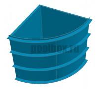 Купель для бани, 1,5 х 1,5 х 1,5 м., четверть круга, из полипропилена