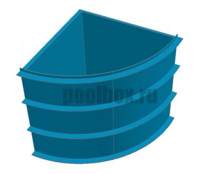 Купель для бани, 1,5 х 1,5 х 1,5 м., четверть круга, из полипропилена (пластика), PoolBox