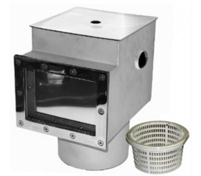 Скиммер для бассейна V 25 литров из нержавеющей стали, с переливом, (универс.), АТ 05.09